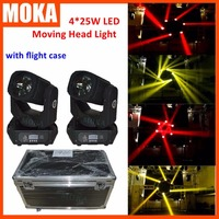 2 Pcs/lot 4x25W Super Beam LED Moving Head Beam Light With Road Case Packing for TV Club Movie Making
