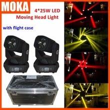 2 шт./лот 4X25 Вт Супер луча LED перемещение головы луч света с дороги случае упаковка для ТВ клуб кино решений