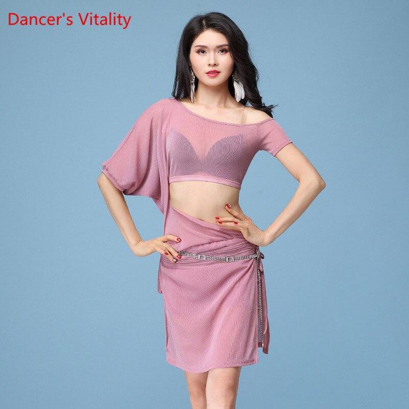 Women New Belly Dance Mesh Dress 2018 Sexy One-Piece Dress Oriental Dance Adult Costume Dress