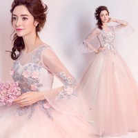 Fairy sweet floral beading Prom Gowns Evening Dresses long lacing chiffon Homecoming dress Party Elegant Vestido De Festa