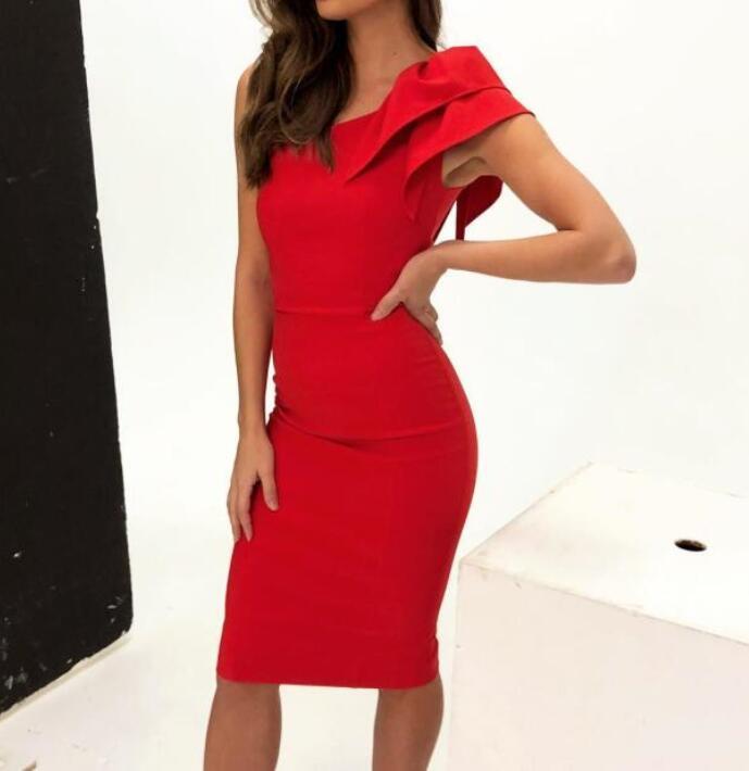 Haute qualité Sexy rouge noir Bandage Onec épaule robe nuit Club Cocktail robe moulante