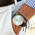 Marca anil arjandas pulseira para os homens, 6mm 24 k banhado a ouro de aço titanium rodada beads trança pulseiras macrame pulseira feminina