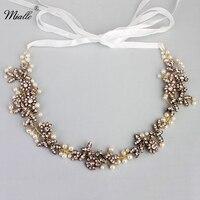 Miallo Beautiful Flower Leaf Crystal Pearls Wedding Hair Vine Headband Bridal Headpiece Hair Accessories HS J4558