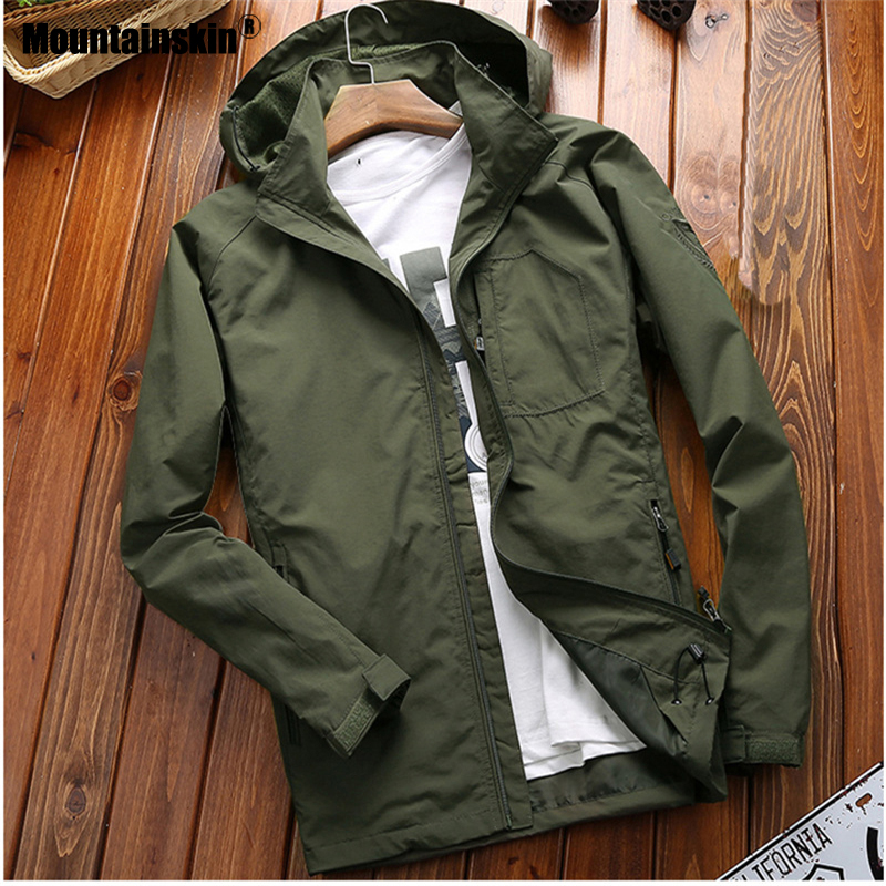 Mountainskin Jackets Mens Thin Windbreaker Jacket Male Fashion Loose Large Size Coats Slim Fit Coat Brand Clothing 6XL SA703