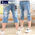 Дети джинсовые шорты 2016 новые летние дети шорты мальчик мультфильм ковбой короткие штаны шлифовальные