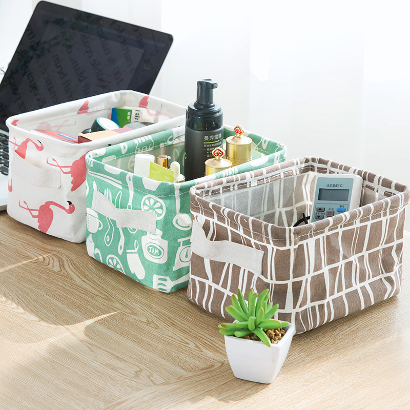 Home fashion, fresh cotton, linen,Both sides of hand, office desk,sundry basket,toy box,cabinet, small cloth,cloth, art basket