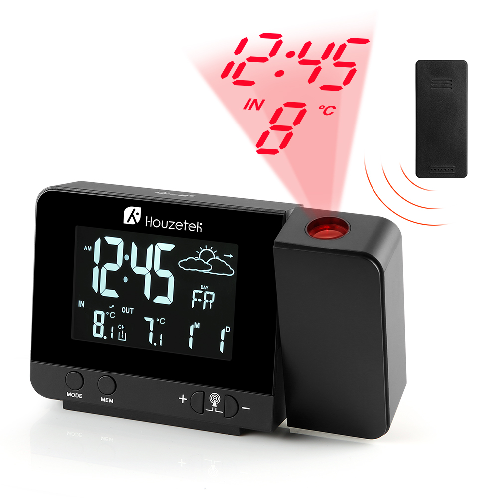 Houzetek Digital Projection Alarm Clock Weather Station Outdoor Indoor Temperature Thermometer Bedside Wake Up Projector Clock digital lcd thermometer projection weather station temperature calendar display dual alarm clock usb charging function