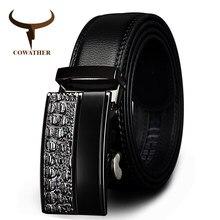 COWATHER Correa Masculina de la Hebilla Automática Cinturones de Cuero  Famoso Diseñador de la Marca Para 13ed092c5bba