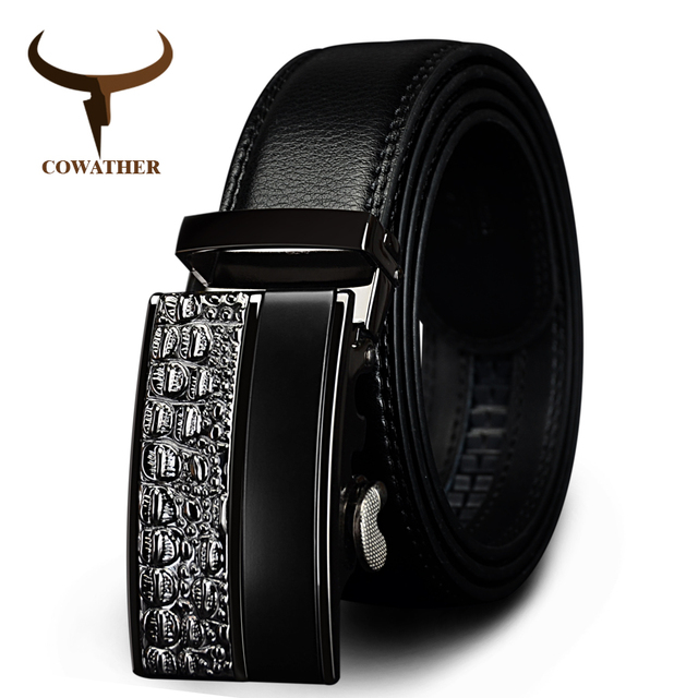 100% Automatic Buckle Genuine Leather Belts For Men