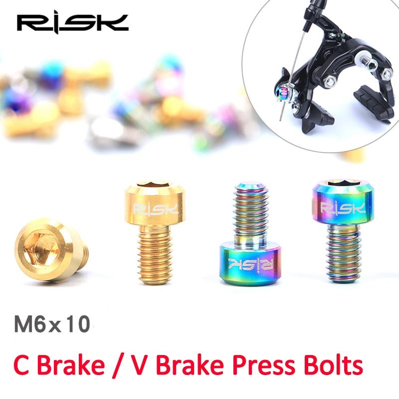 RISIKO 2 STK M6 * 10mm Titanium Alloy Bolte til Cykel V Brems Mountain MTB Bike Clamp Clip Presse Road Bike C Bremseskruer M6x10mm