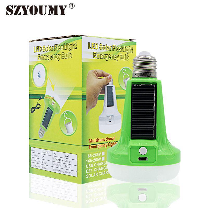 SZYOUMY 12W 18W Solar Portable Lamp  Led Flashlight E27 85-265V Emergency Light