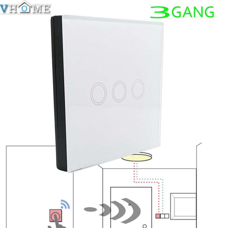 VHOME Smart Home 3 GANG 1 WAY 433MHZ RF wall touch Remote Controller Control touch wall light transmitter,smart home automation smart home uk standard crystal glass panel wireless remote control 1 gang 1 way wall touch switch screen light switch ac 220v
