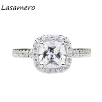 LASAMERO 1 1ct Cushion Cut Lab Grown Moissanites Center Halo Style 14k White Gold Wedding Engagement