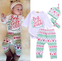 4PCS Baby Boys Girls Clothing Christmas Gift Outfits Bodysuits Long Sleeve Deer Pants Hat Headband Baby