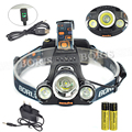 6000 lumens 3T6 Headlight 4 Mode Rechargeable Headlamp 3x XML T6 LED Head lamp Light Lantern with 18650 Battery &Charger