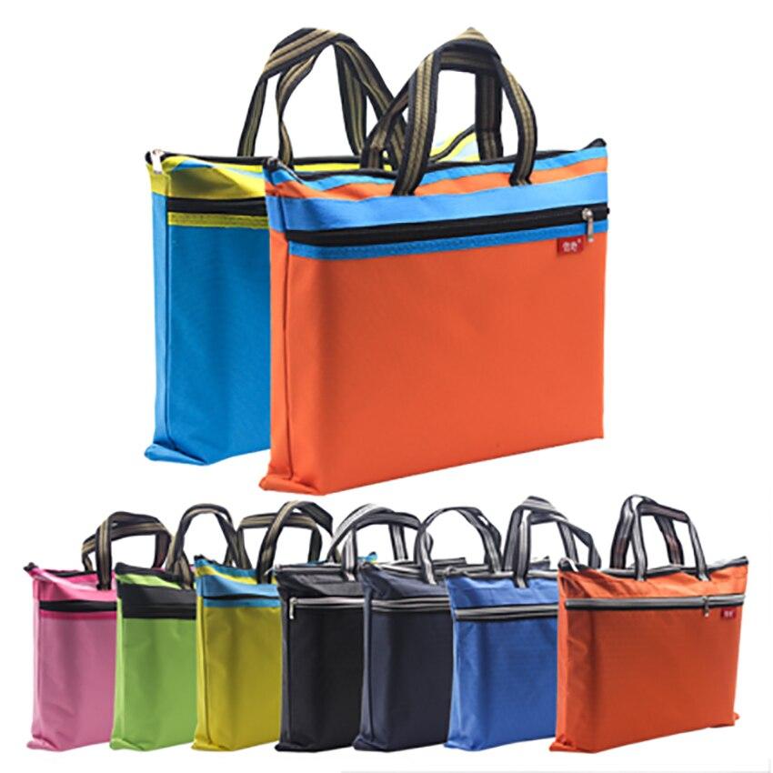 A4 Thicken File Folder Zipper Canvas Double-layer Storage Bag Student Handbag Office Supplies Document Case Bags Customize Logo