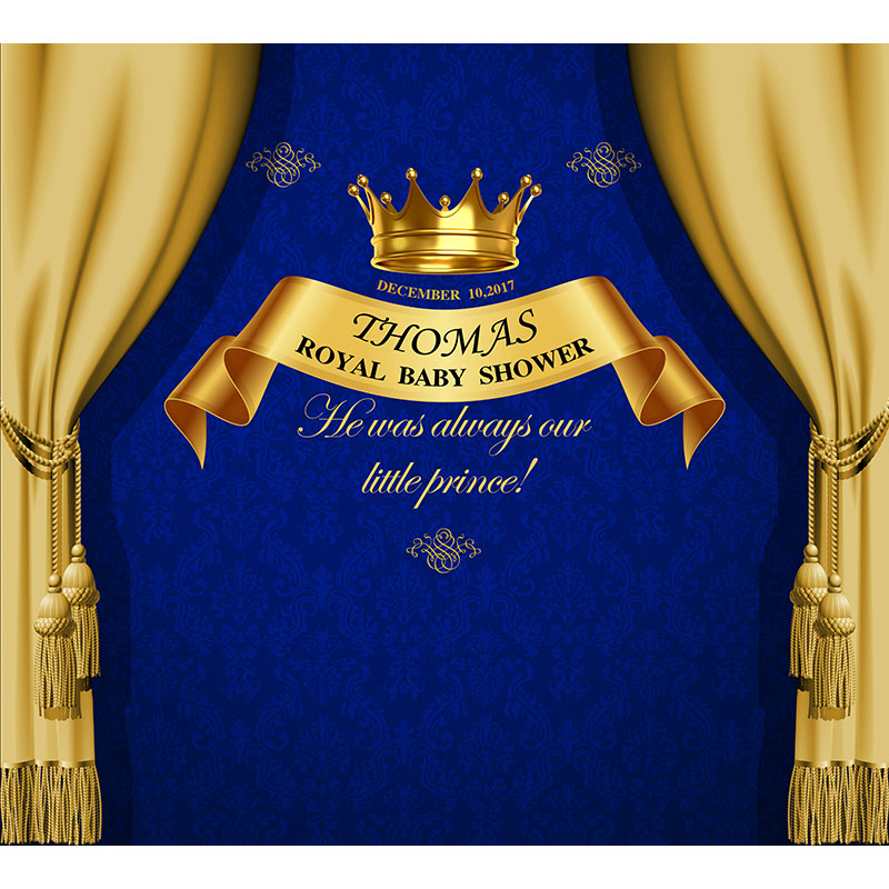 Custom Baby Shower Photo Backdrop Prince Gold Curtain Newborn