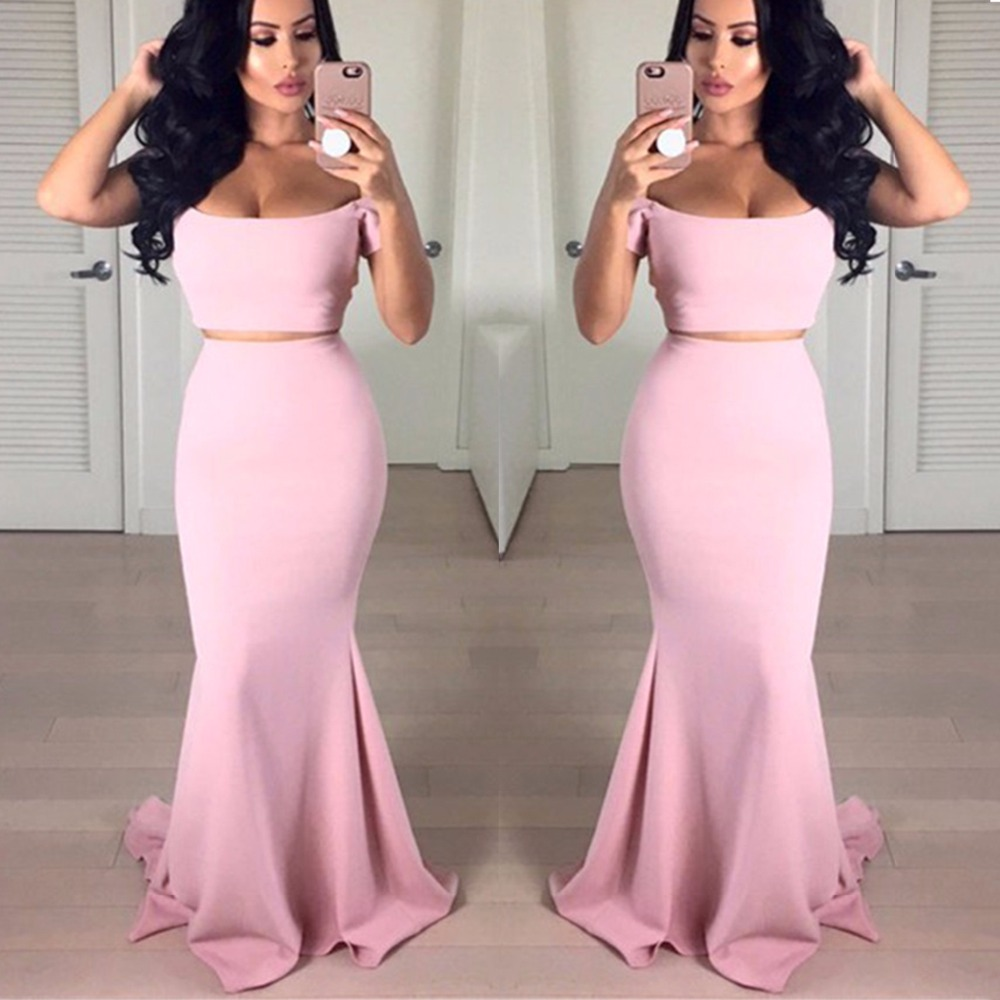 Sexy Boat Neck Mermaid Bridesmaid Dresses Simple 2 Pieces Women Prom ...