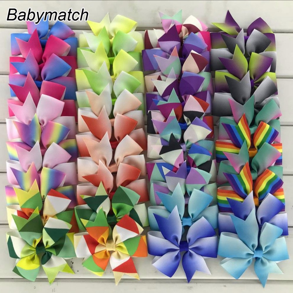 Babymatch 3 inches Rainbow Hair Bows For Girls Kids Teens Boutique Cute Printed Pinwheel Hairbow With Alligator Clis 200pcs/lot