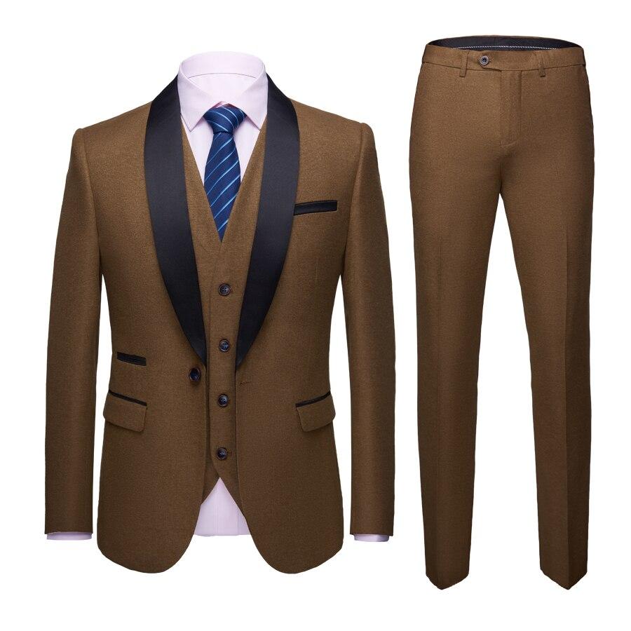 2019 hommes pur coton senior marié robe complète/hommes trois pièces de Suites manteau + gilet + pantalon/costume de mode hommes