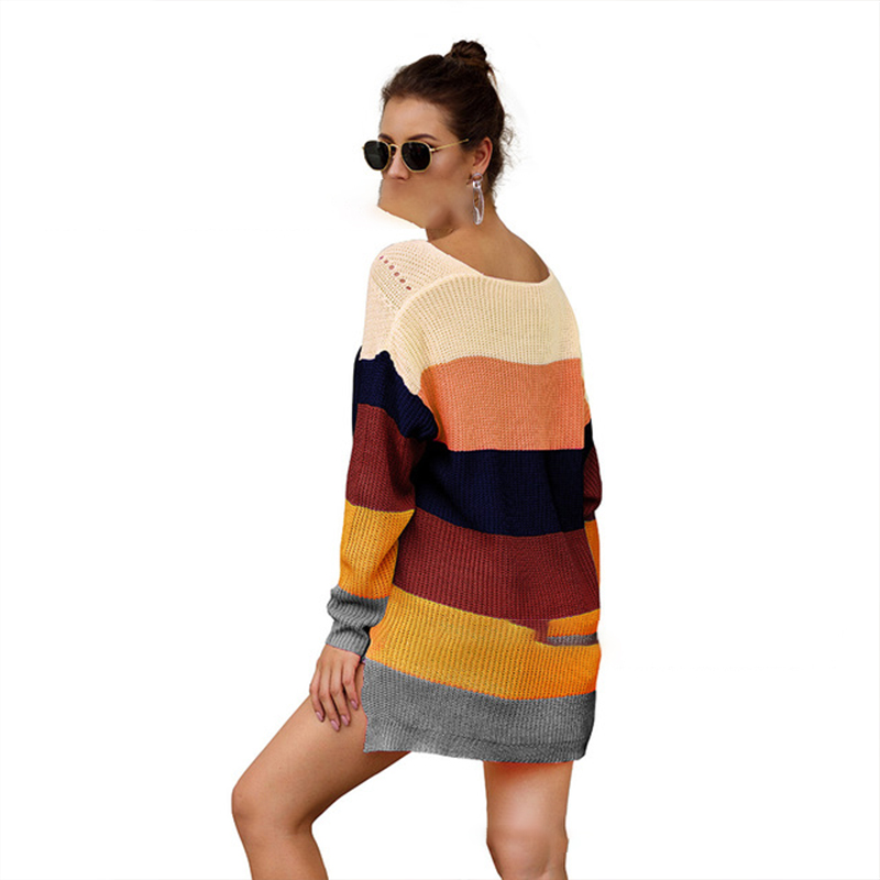2019 Winter Knitwear Rainbow Color Matching Loose Long Sleeve Pullover Sweater Women Sueter Mujer Invierno Chompas Para Mujer in Pullovers from Women 39 s Clothing