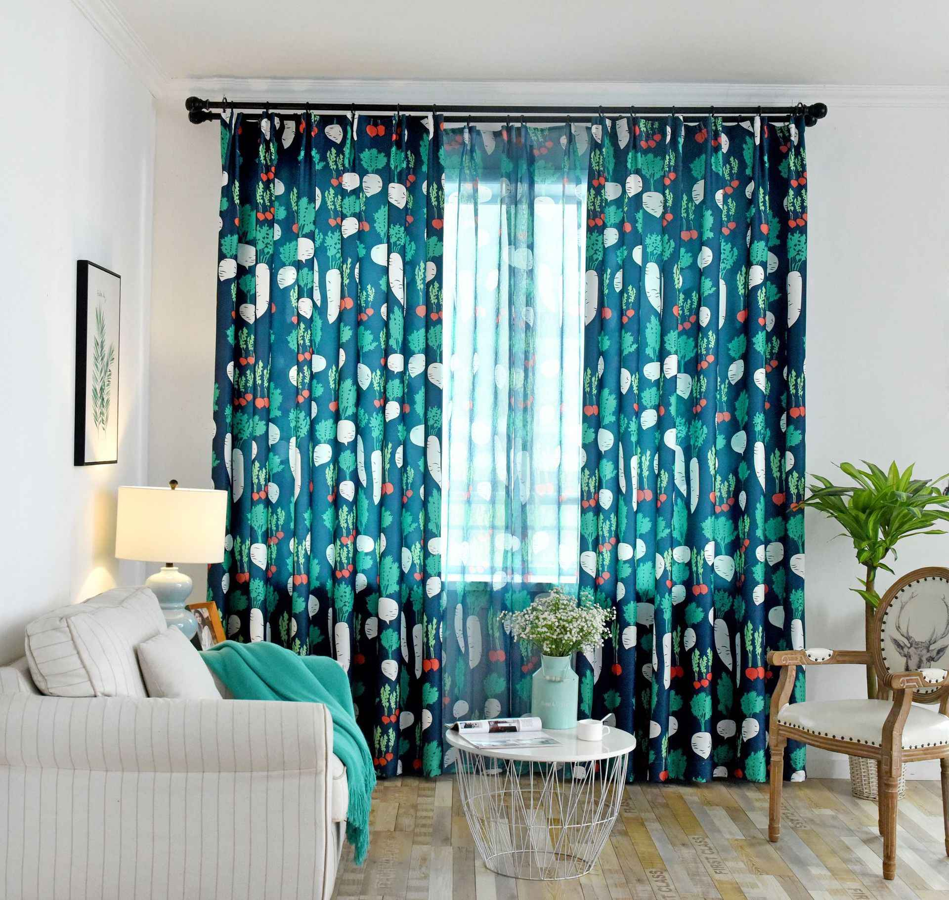 Modern Nordic Radish Boys Girls Curtains for Living Room  Curtains Embroidered Curtains for Bedroom Fresh Stripes Curtains