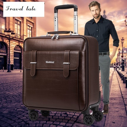 Travel tale high quality fashion business16/18/20size 100%PVC Rolling Luggage Spinner brand Travel Suitcase