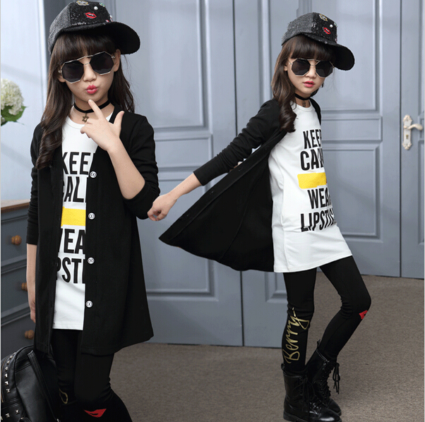 Children girls clothing sets autumn teenage girls sport suit school kids clothes tracksuit long coat Leggings 3pcs girls clothes