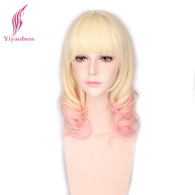 Yiyaobess Synthetic Medium Curly Wig Cosplay Heat Resistant 16inch Blonde Pink Ombre Wigs For Women