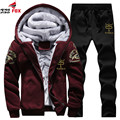 Autumn Winter Thick Inner Wool Hoodie Men Hat Casual trackSuit Men Zipper Active Suits For Men brand Outwear clothing+ Pants