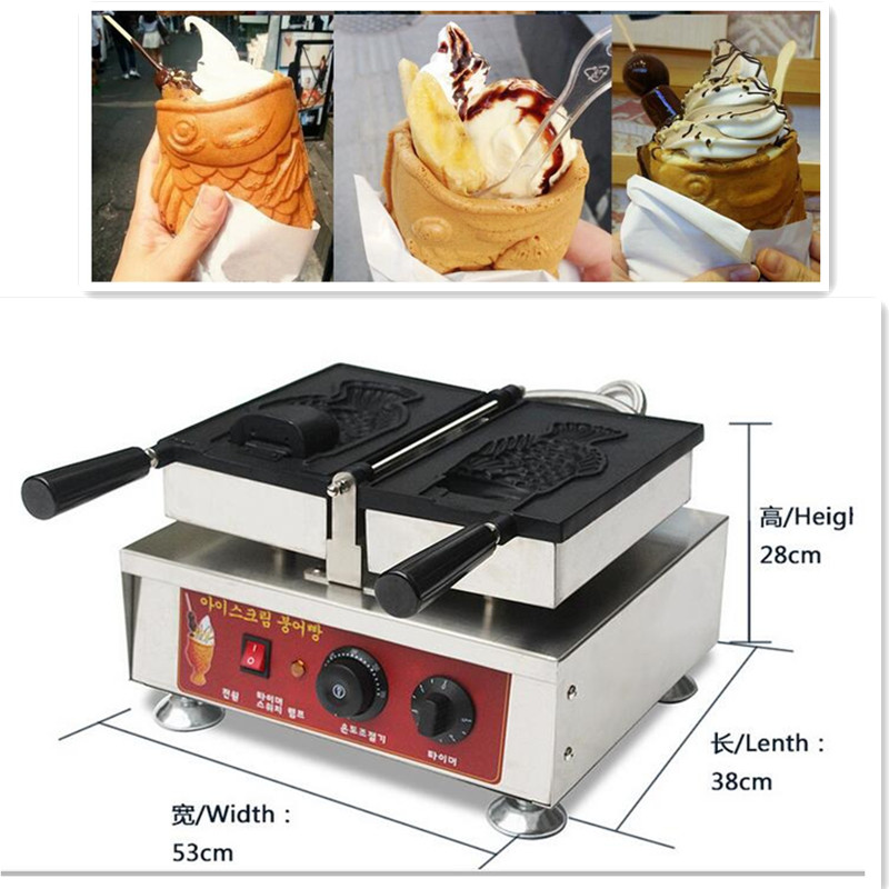 110V 220V 2000W 1pc Electric Fish Ice Cream Taiyaki Machine Fish Waffle Maker Non-stick For Household Or Commercial Using 4pcs fish moulds commercial use non stick electric ice cream fish taiyaki maker machine baker