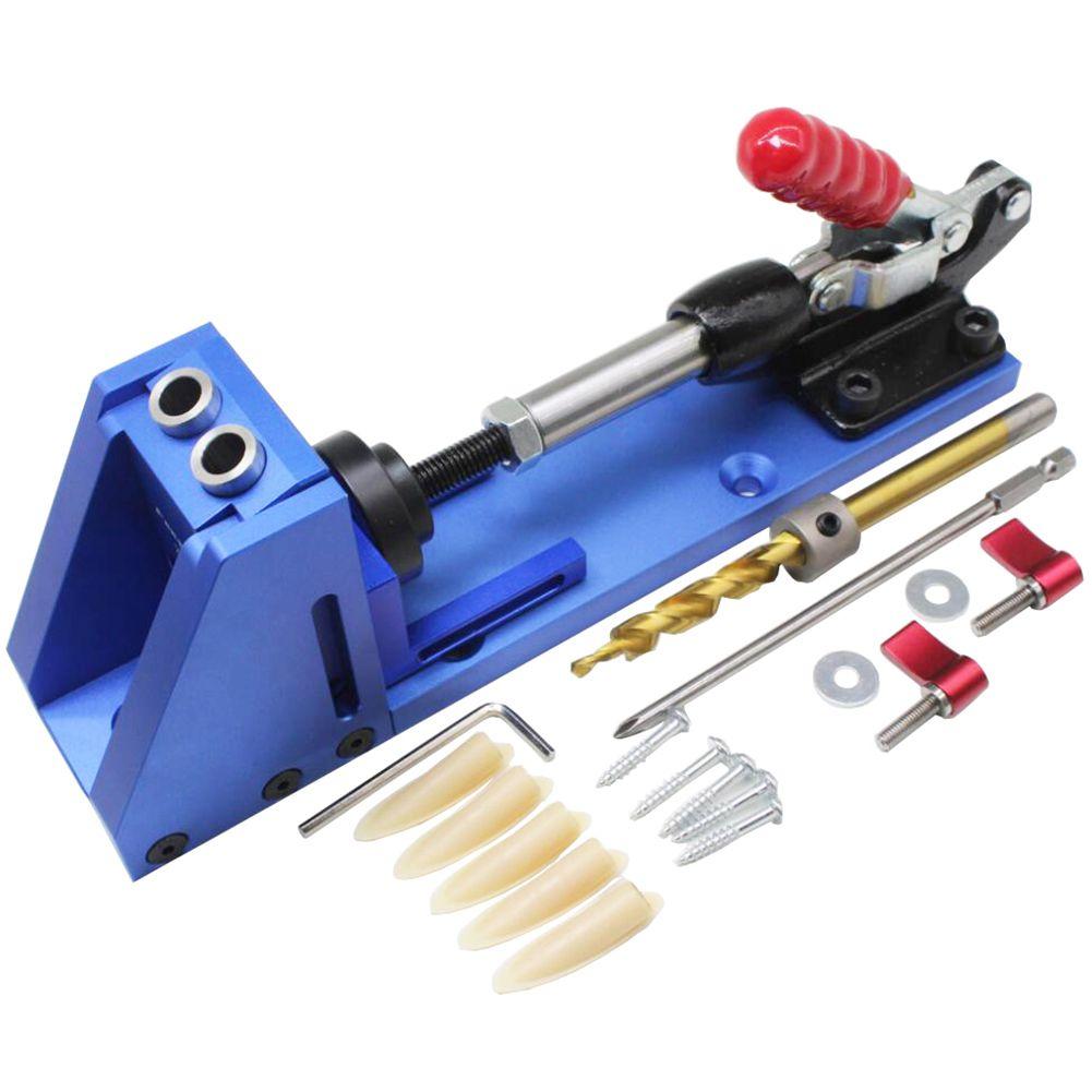Guide de menuiserie Kit de charpentier système outils de forage à trous inclinés Kit de foret à base de pince Kit de gabarit de trou de poche