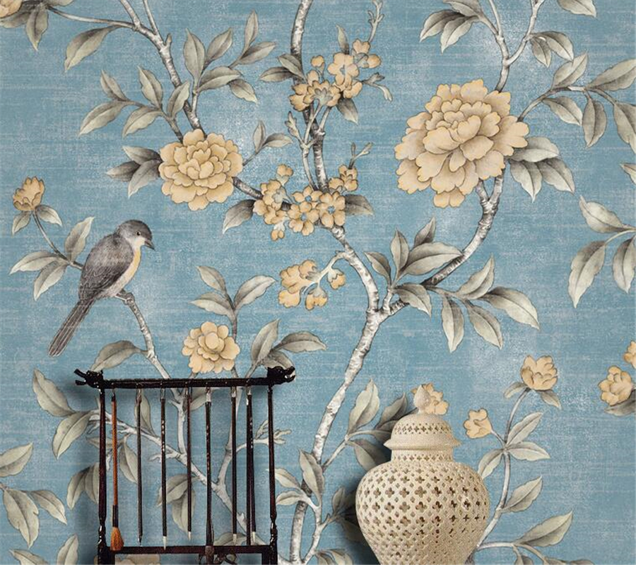 Modern Wallpaper roll rich flowers and birds non-woven wallpaper bedroom study teahouse TV background wallpaper Beibehang large murals non woven beauty flowers porch corridor sand background wallpaper 3 d wallpaper papeles pintados