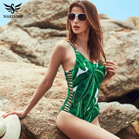 NAKIAEOI 2017 Sexy One Piece Swimsuit Women Swimwear Green Leaf Bodysuit Bandage Cut Out Beach Bathing