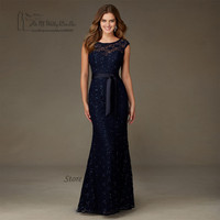 High Quality Navy Blue Lace Sequin Bridesmaid Dresses Long V Back Wedding Guest Dress Gowns Floor