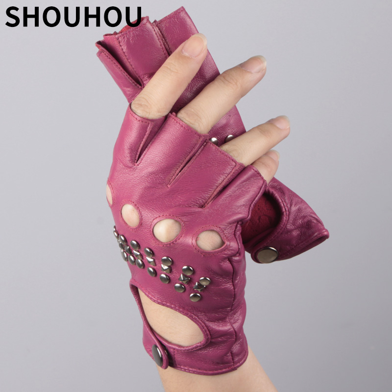 2018 SHOUHOU New Women Semi-finger Gloves Lady's Leather Gloves Fashion Back Rivet Sexy Dancing Gloves Mittens Free Shipping