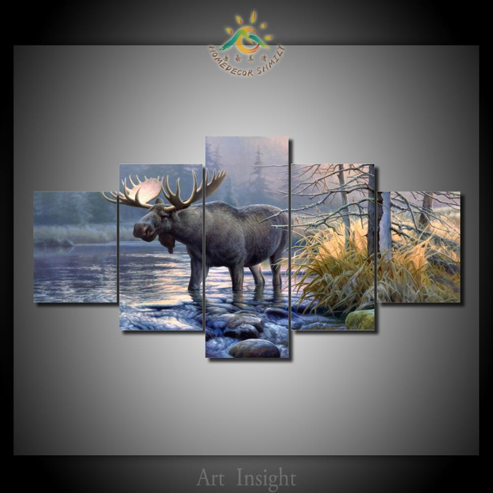 Hd printed 5 piecesset moose in the river canvas art hd printed hd printed 5 piecesset moose in the river canvas art hd printed canvas painting wall picture cuadros art prints on canvas solutioingenieria Image collections