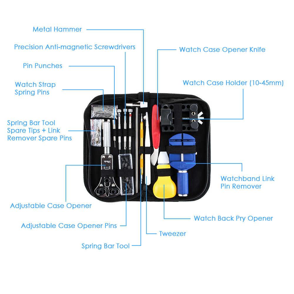 147PCS מקצועי שעון תיקון כלי ערכת מקרה פותחן מסיר מברג אביב בר Watchband קישור פין שעוני יד תיקון כלי