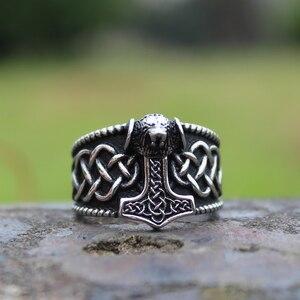 Кольцо викинга мьельнир Тора, мужское кольцо с кельтским узлом, Скандинавское кольцо из нержавеющей стали с Львом, амулет, украшения