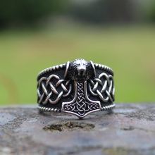 Viking Mjolnir Thors Hammer Celtic Knot Ring Mens Nordic lion Stainless Steel Rings Amulet Jewelry