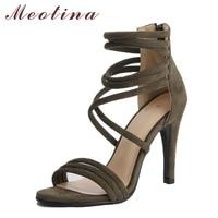 Meotina Women Sandals High Heels Gladiator Shoes 2018 New Peep Toe Thin Heels Shoes Zip Summer