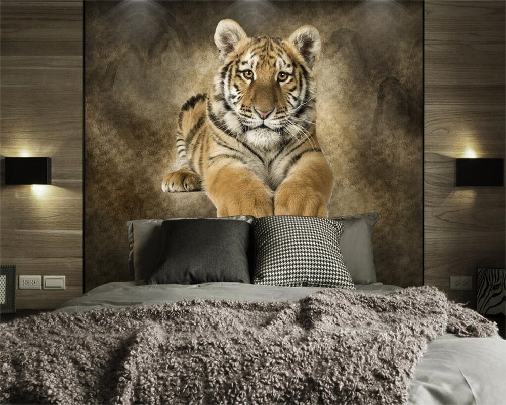 Beibehang Custom Wallpaper Animals Tiger HD Background Wall Murder Living Room Bedroom TV Sofa Background Murals 3d Wallpaper