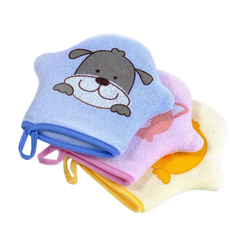 Cute Cartoon Baby Bath Sponge Super Soft Cotton Brush Rubbing Towel Ball 3 Colours Bath Gloves