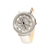 MATISSE Fashion Lady Full Crystal Rotatable Dial Buiness Quartz Watch Wristwatch White