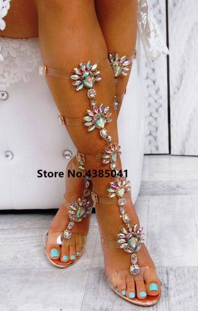US $29.75 38% OFF YUE JABON Trendy Design Buckle Straps Flat Heel Sandals Gold Woman Knee High Gladiator Sandal Boot Bohemia Crystal Beach Shoes in