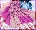 Ярко розовый женщины хлопок пашмины хиджаб китайская национальная шарфы платки длинной бахромой обернуть Mujere Bufanda 172 x 68 см WS102