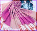 Hot Pink Women Cotton Pashmina Hijab Chinese National Scarves Shawls Long Fringe Wrap Mujere Bufanda 172 x 68 cm WS102