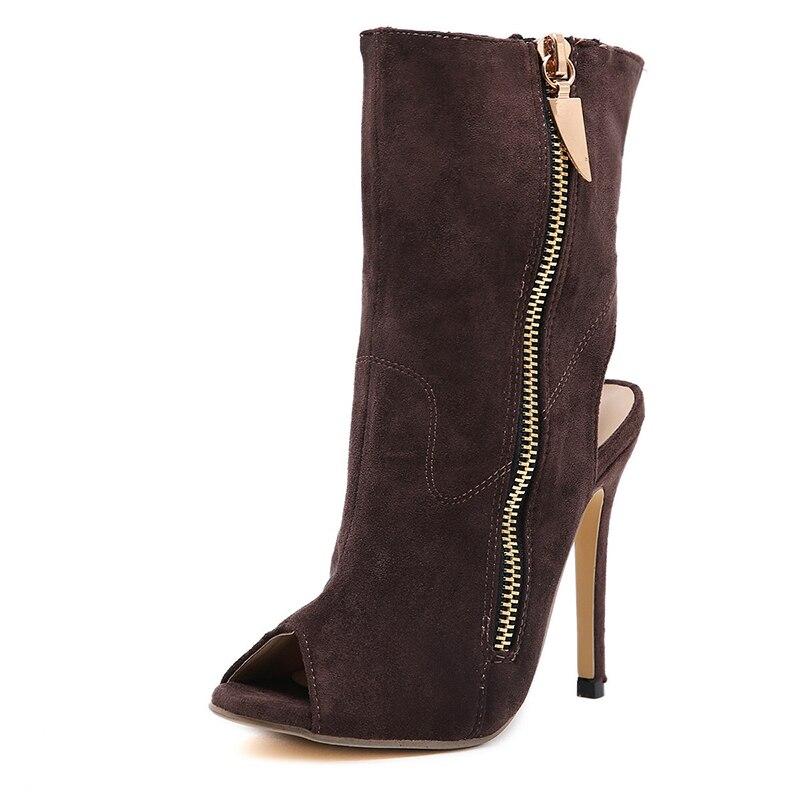Ferse Stiefel Peep Toe Ausgesetzt Frau Partei Dünne Schuhe Xiaxueer brown Weibliche 35 Größe Plattform 40 Frauen Black Komfort wxYXz08