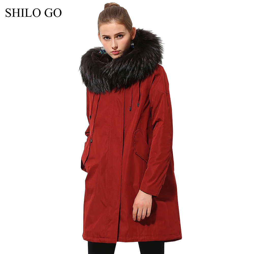 Womens Winter Wine Army Green Jacket Coats Thick Parkas Real Raccoon Collar Hooded Rabbit Fur Lining Long Outwear Fur Coat children army coat kids real raccoon collar fur jacket outdoor parkas army green rex rabbit fur hooded jacket for girl