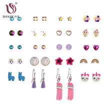 DANZE New Design 20/30 Pairs/Set Stud Earrings Set For Women Girls Pearls Flowers Unicorn Crystals Rainbow Heart Stud Earrings